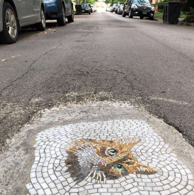 Real street art: potholes turned into mosaics