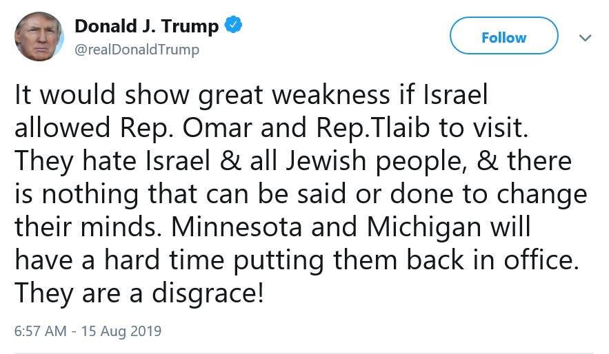 Image result for trump tweet israel ban