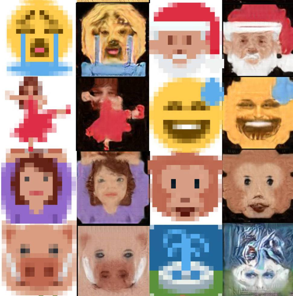 Screenshot of Twitter emoji with their resolution increased by an AI algorithm