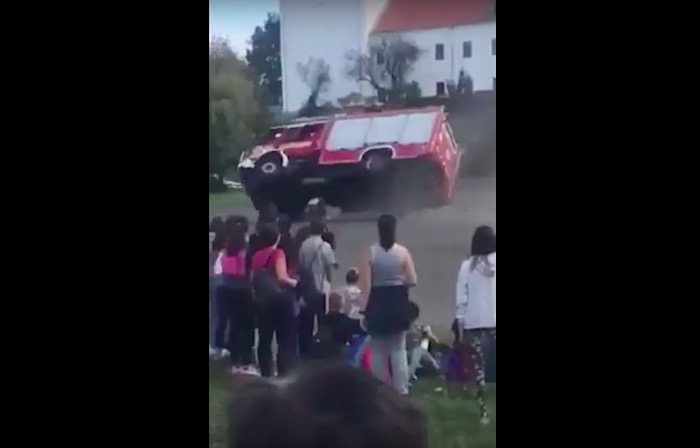 Peppy firetruck gets carried away and tips over at school demo