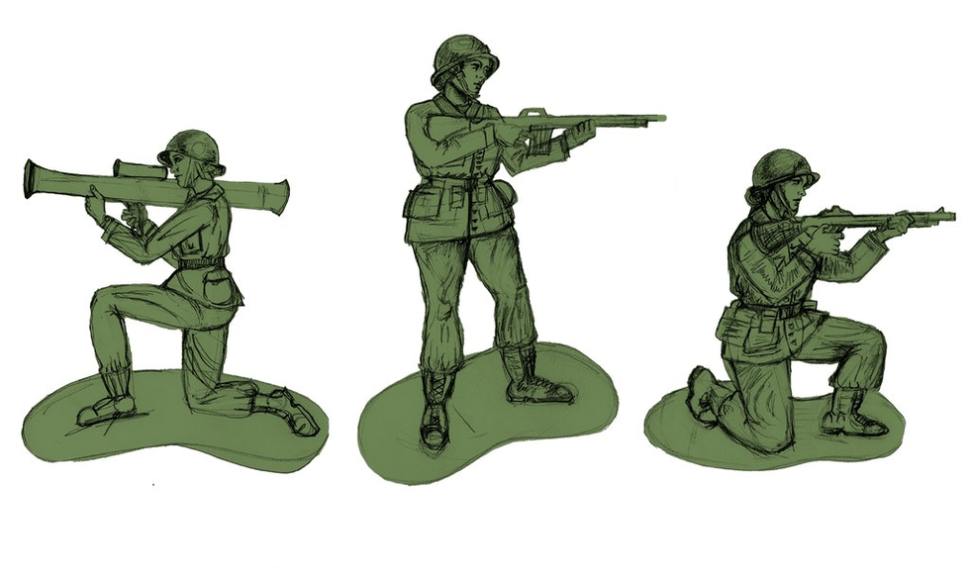 "Picture of concept art for ""plastic army women"" by BMC toys"