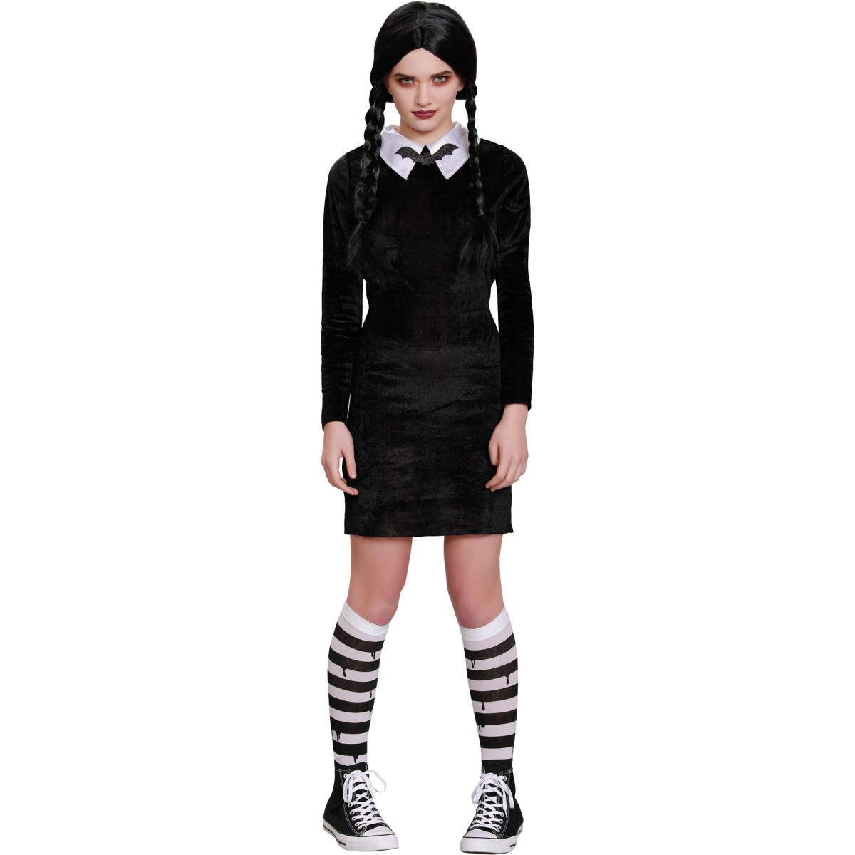 Two snaps to whoever named this knockoff Wednesday Addams costume