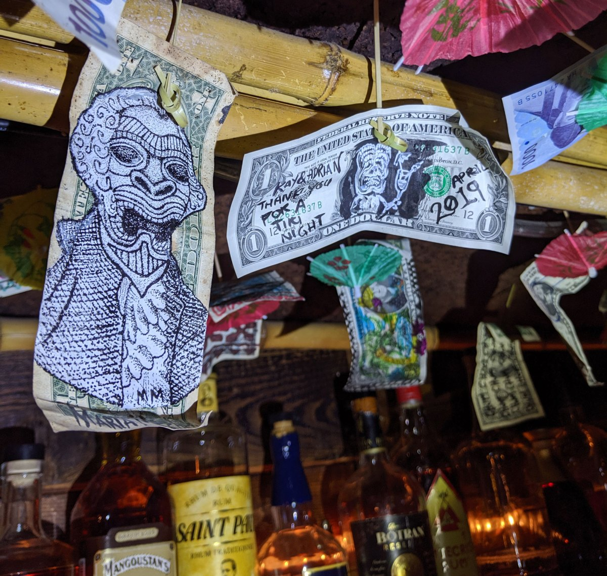 Tiki bar pulls thousands of dollars from ceiling and walls, donates it