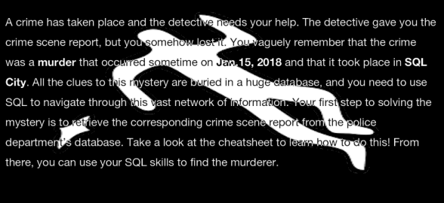 SQL Murder Mystery: teaching SQL concepts with a mystery game
