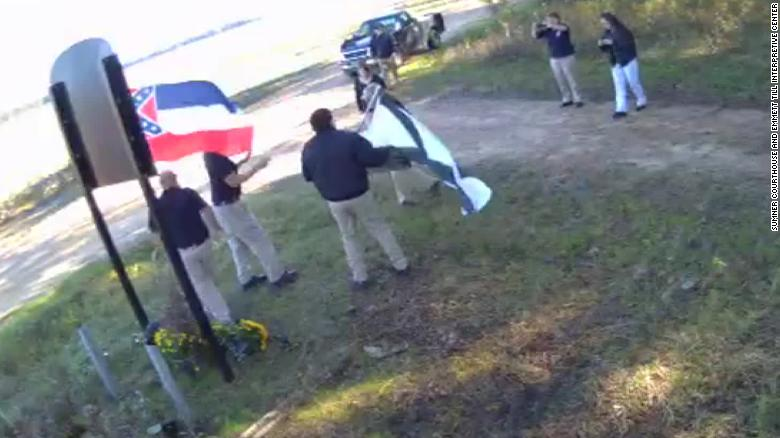 White supremacists record video at the new, bulletproof Emmett Till memorial sign