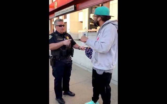 "Four cops handcuff black man for ""illegal eating"""
