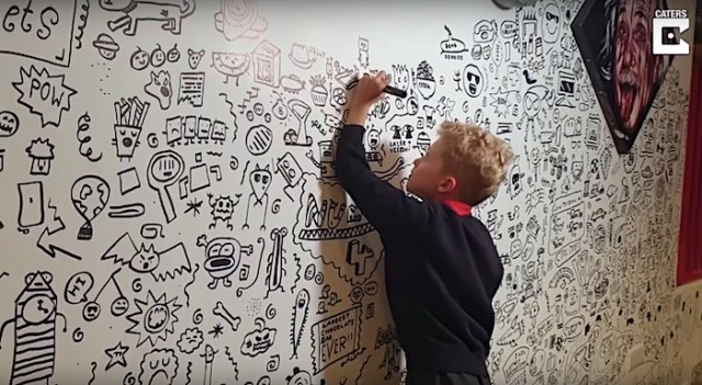 A 9-year-old boy who was told by his teacher to stop doodling gets a job as a doodler