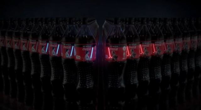 Coca-Cola bottles with built-in light-up lightsabers