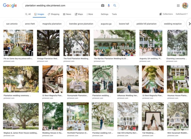"Pinterest and The Knot pressured to stop romanticizing former slave plantations as ""romantic"" wedding venues"