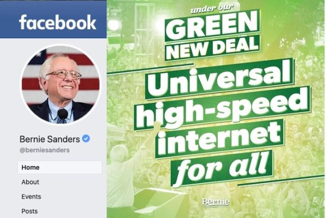 "Bernie Sanders has a ""High-Speed Internet for All"" plan, $150 billion for public broadband"