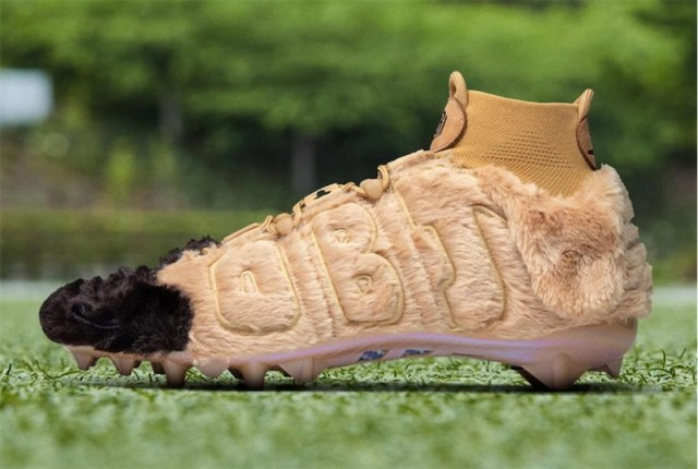 NFL player wears unusual furry dog cleats to support an animal shelter