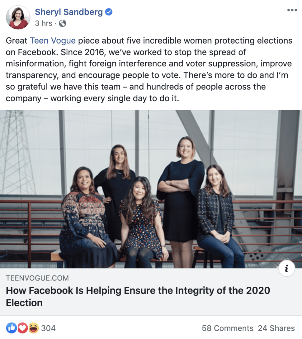 Facebook paid Teen Vogue to run a fake article praising Facebook for  helping ensure the integrity of the 2020 election