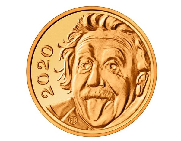 Albert Einstein's funny face is on the world's smallest gold coin