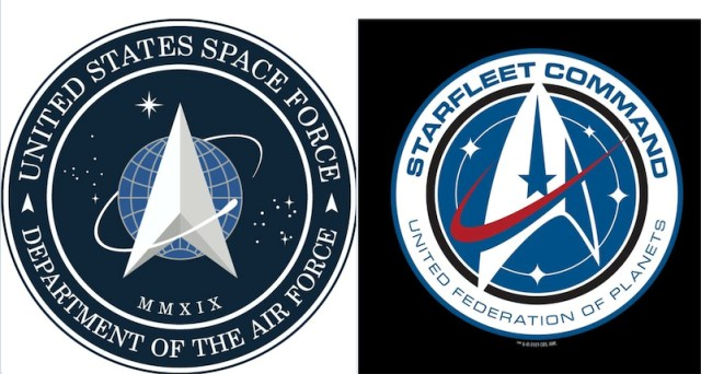 Compare Trump's new Space Force logo with the Star Trek Starfleet Command logo