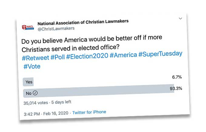"National Association of Christian Lawmakers accuse ""Satanists and Atheists"" for voting in their poll"