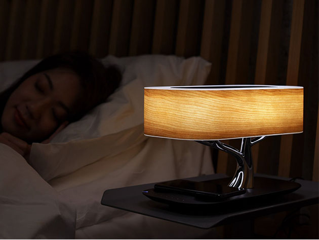 Bring art to your bedside with this 3-in-1 wireless charging Bluetooth speaker LED lamp