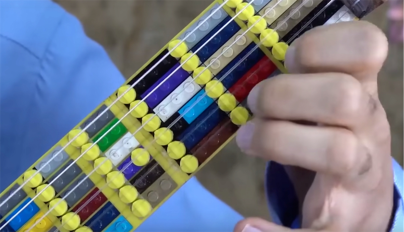 Classical guitarist built a microtonal guitar from LEGO and it sounds beautiful