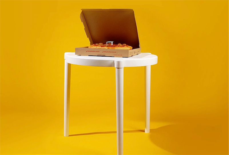 Ikea makes pizza table that looks like the little plastic table inside pizza boxes
