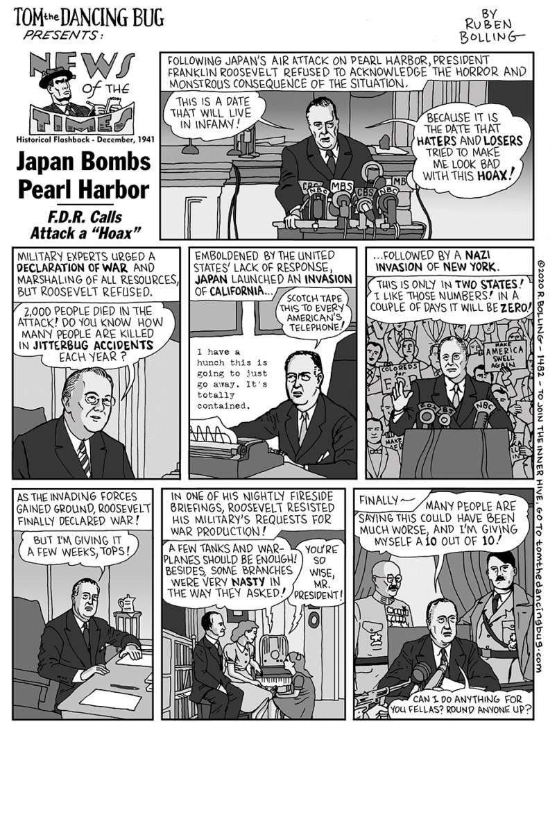 """News of the Times: Japan Bombs Pearl Harbor - F.D.R. Calls Attack a """"Hoax"""""""