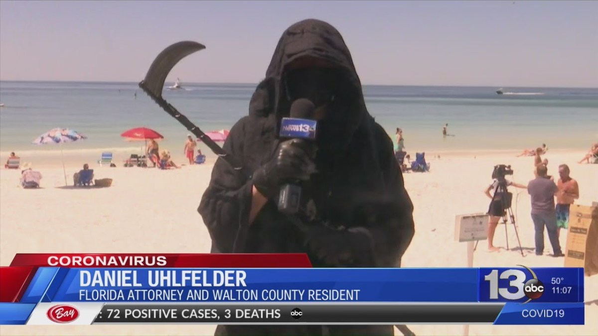 Grim Reaper visits Florida beaches as Gov. DeSantis lifts COVID-19 restrictions