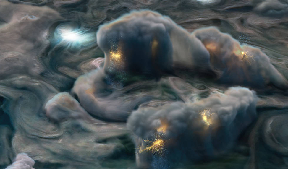 Cool NASA illustrations of Jupiter's lightning and atmospheric