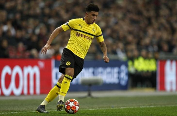Gelandang Borussia Dortmund, Jadon Sancho (Adrian Dennis/AFP)