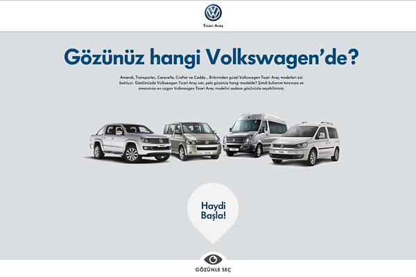 Volkswagen Ticari Araç'ın yeni web sitesi göz hareketlerini takip ediyor 2