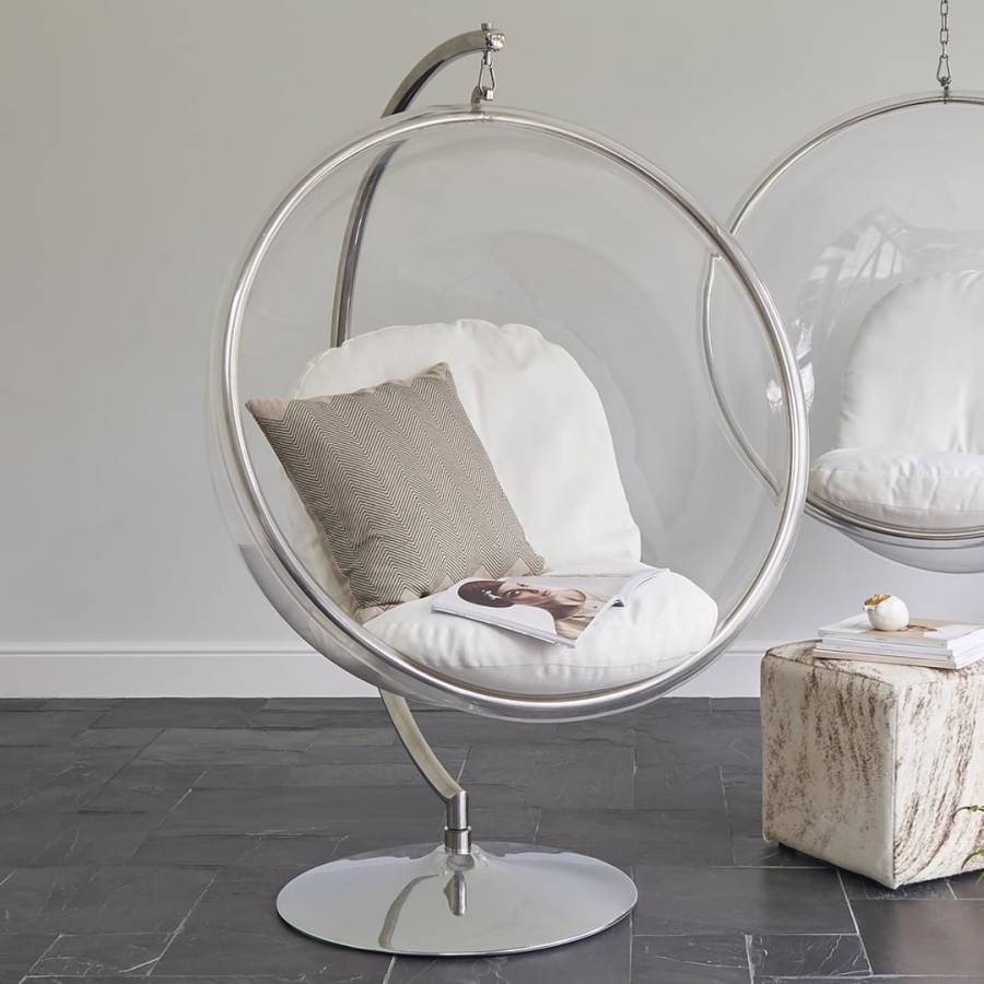 Ivory Bubble Hanging Chair On Stand  BrandAlley