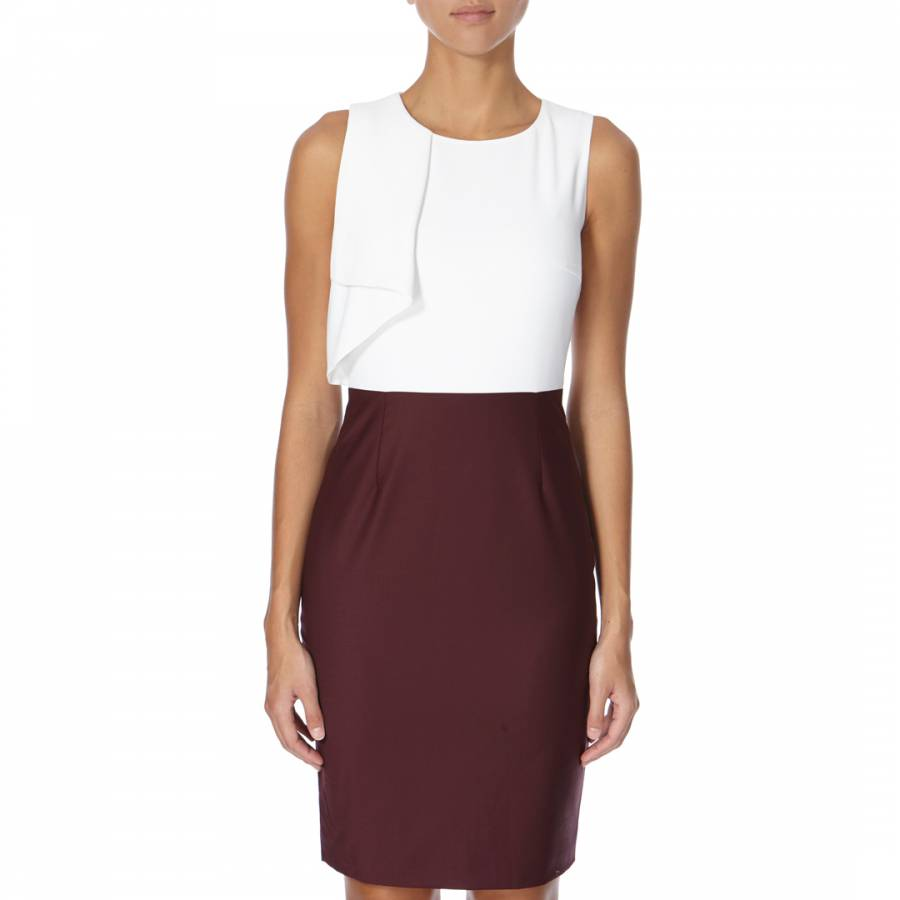 White and Burgundy Frill Pencil Dress  BrandAlley