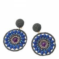 Blue Rhinestone Earrings - BrandAlley