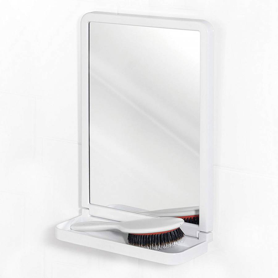 Bathroom Suction Square Mirror with Shelf, Plastic, White