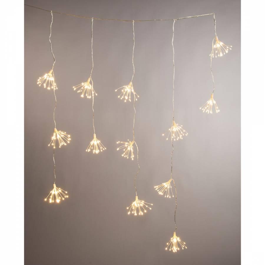 festive 520 warm white dewdrop starburst snowing curtain lights