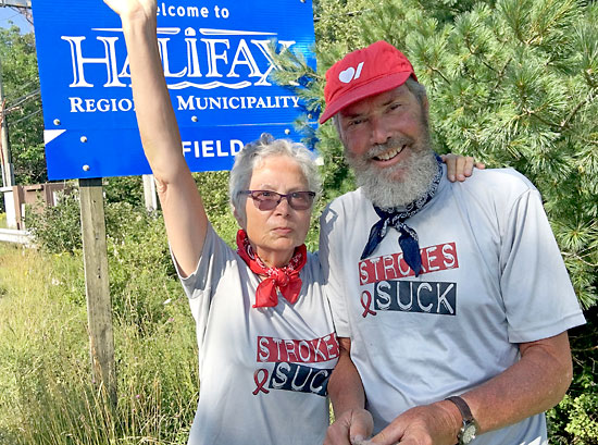 Brandonites John Simpson and Laurel McLaughlin are pictured at the end of their journey, in Halifax earlier this year.
