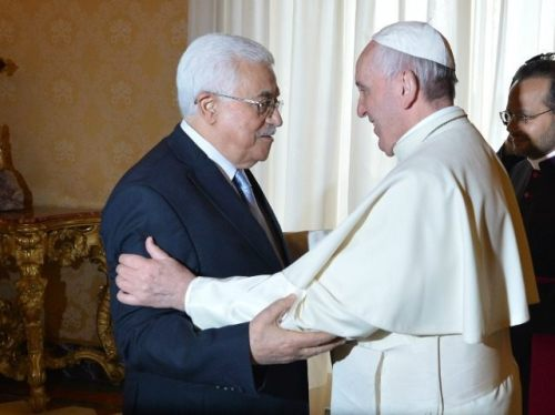Image result for mahmoud abbas and pope francis