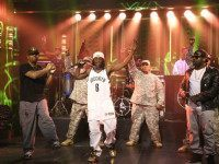 THE TONIGHT SHOW STARRING JIMMY FALLON -- Episode 0125 -- Pictured: (l-r) Chuck D and Flavor Flav of musical guest Public Enemy perform with Tariq 'Black Thought' Trotter of The Roots on September 16, 2014 -- (Photo by: Douglas Gorenstein/NBC/NBCU Photo Bank via Getty Images).