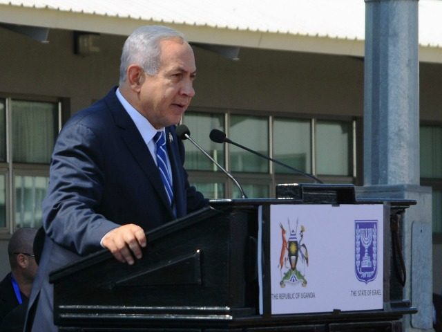 Israeli Prime Minister Benjamin Netanyahu speaks during an event to mark the 40th anniversary of the 1976 hostage rescue in Entebbe on July 4, 2016.