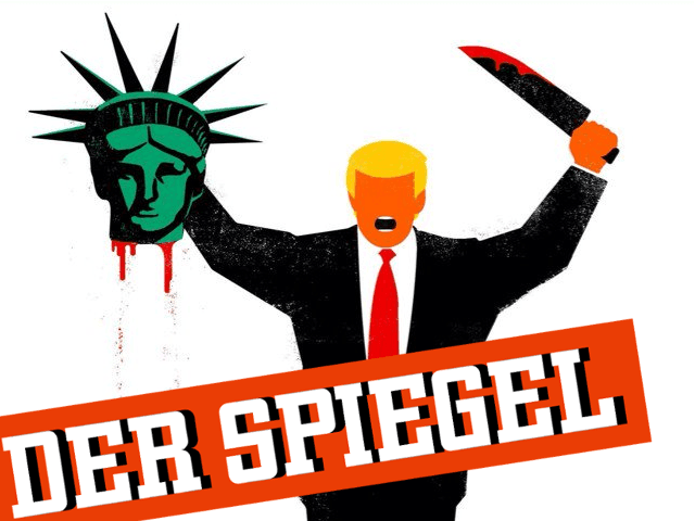Image result for Der spiegel's cartoon: Trump beheading liberty statue