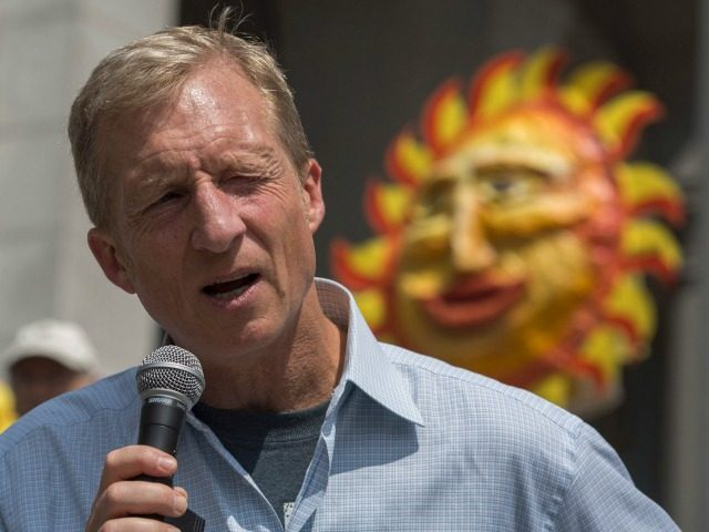Billionaire environmental activist Tom Steyer addresses the March to Break Free from Fossil Fuels on May 14, 2016 in Los Angeles, California. The March to Break Free from Fossil Fuels are being held in several US cities and other nations as part of an international two-week protest campaign. / AFP / DAVID MCNEW (Photo credit should read DAVID MCNEW/AFP/Getty Images)