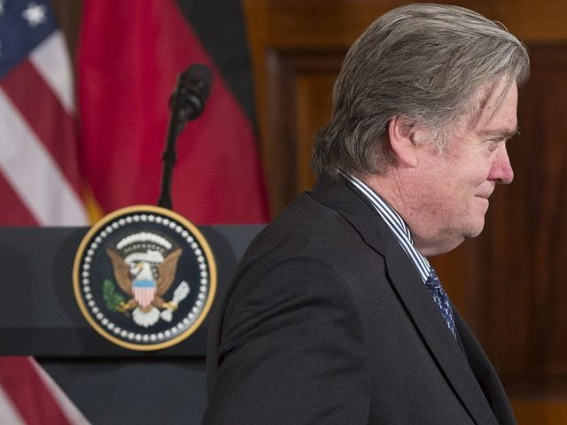 Stephen Bannon, White House Chief Strategist, arrives for a joint press conference between US President Donald Trump and German Chancellor Angela Merkel in the East Room of the White House in Washington, DC, March 17, 2017. / AFP PHOTO / SAUL LOEB (Photo credit should read SAUL LOEB/AFP/Getty Images)