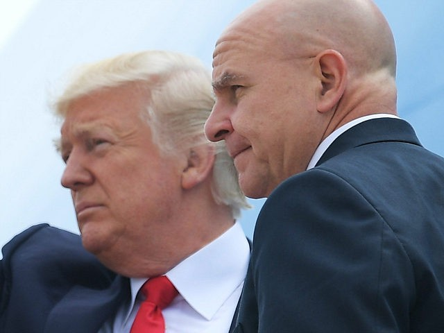 US President Donald Trump and National Security Adviser H. R. McMaster board Air Force One before departing from Andrews Air Force Base for Miami, Florida on June 16, 2017. / AFP PHOTO / MANDEL NGAN (Photo credit should read MANDEL NGAN/AFP/Getty Images)