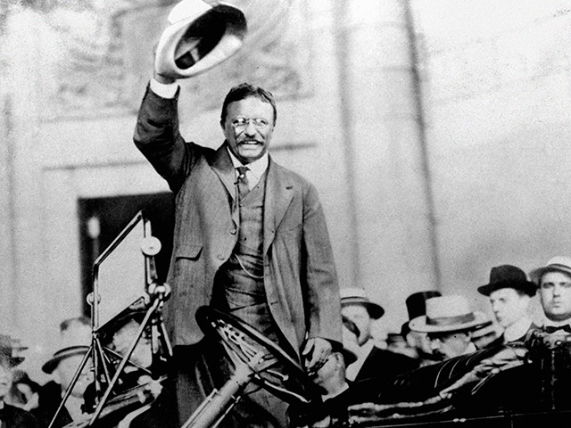 Theodore Roosevelt campaigns for the Presidency in 1904. (AP Photo)