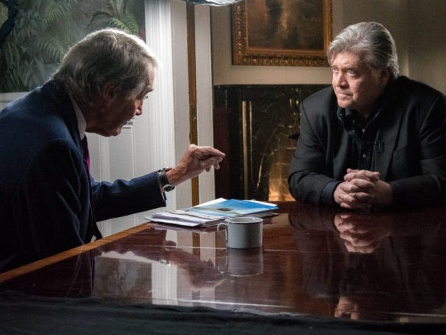 "Breitbart News executive chairman Steve Bannon and CBS News anchor Charlie Rose speak in the ""Breitbart Embassy"" in Washington, DC, on September 6, 2017."