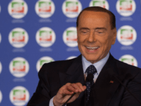Former Prime Minister and president of Italian right-wing party Forza Italia, Silvio Berlusconi, speaks during a convention of his party on October 14, 2017 at Ischia. / AFP PHOTO / Eliano IMPERATO (Photo credit should read ELIANO IMPERATO/AFP/Getty Images)