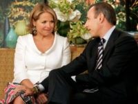 "Matt Lauer says his farewell to Katie Couric, his exiting co-host of the NBC ""Today"" television program in the studio, Wednesday May 31, 2006. With Lauer bringing the tissues, the ""Today"" show threw a going-away party Wednesday for 15-year host Katie Couric, who is leaving to become the next anchor of the ""CBS Evening News."" (AP Photo/Richard Drew)"