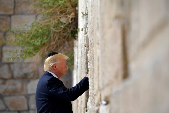 US President Donald Trump, seen here visiting the Western Wall, has pledged he will recognize Jerusalem as Israel's capital
