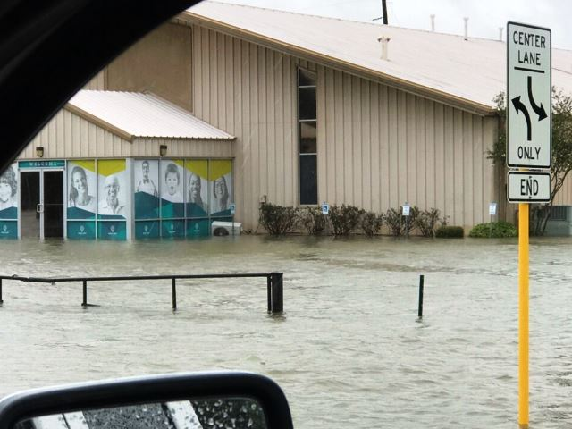 Hurricane Harvey flood waters invade Harvest Family Church in Cypress, Texas. (Photo: Becket Law Firm)