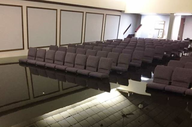 Hi-Way Tabernacle in Cleveland, Texas, flooded in the wake of Hurricane Harvey. (Photo: Becket Law Firm)