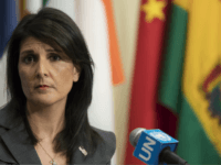 American Ambassador to the United Nations Nikki Haley speaks to reporters Tuesday, Jan. 2, 2018, at United Nations headquarters. Haley said the U.S. is calling for U.N. Security Council and Human Rights Council emergency sessions on Iran. (AP Photo/Mary Altaffer)