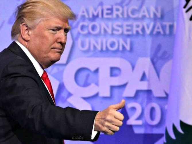 Image result for trump with CPAC