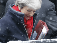 British Prime Minister Theresa May leaves 10 Downing street for the weekly Prime Minister Question (PMQ) session in the House of Commons in London on February 28, 2018. / AFP PHOTO / Tolga AKMEN (Photo credit should read TOLGA AKMEN/AFP/Getty Images)